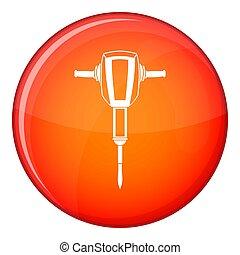 plano, estilo, neumático, icono,  plugger, martillo