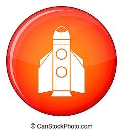 icono, plano, estilo, cohete
