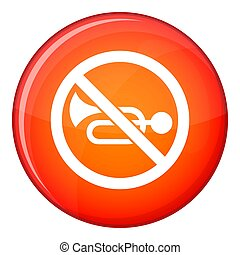 No horn traffic sign icon, flat style - No horn traffic sign...