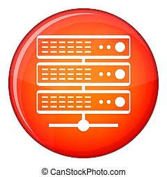 Servers icon, flat style - Servers icon in red circle...
