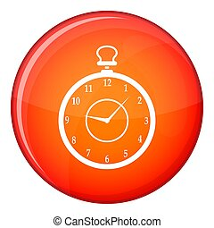 Watch icon, flat style - Watch icon in red circle isolated...