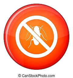 No cockroach sign icon, flat style - No cockroach sign icon...