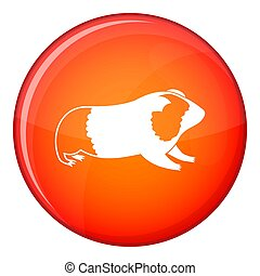 Hamster icon, flat style - Hamster icon in red circle...