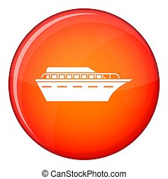 Powerboat icon, flat style - Powerboat icon in red circle...