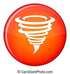Tornado icon, flat style - Tornado icon in red circle...