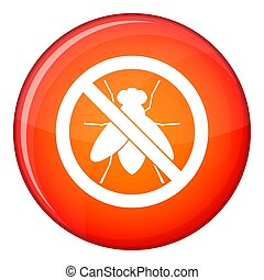 No fly sign icon, flat style - No fly sign icon in red...