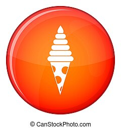 Ice Cream icon, flat style - Ice Cream icon in red circle...