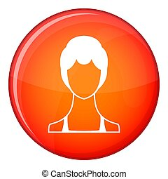 Woman icon, flat style - Woman icon in red circle isolated...