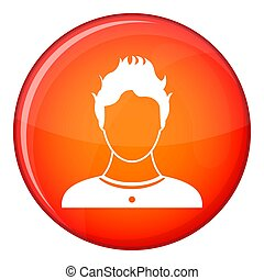 User icon, flat style - User icon in red circle isolated on...