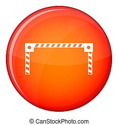 Barrier icon, flat style - Barrier icon in red circle...
