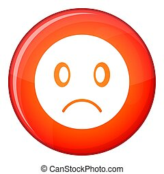 Sad emoticon, flat style - Sad emoticon in red circle...
