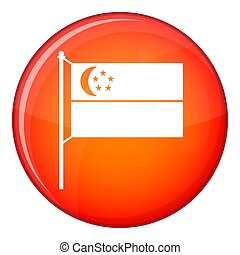 Flag of Singapore icon, flat style - Flag of Singapore icon...