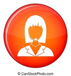 Manager taxi icon, flat style - Manager taxi icon in red...