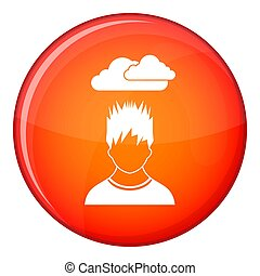 Depressed man with dark cloud over his head icon in red...