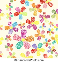 Vector Pattern 60s. Seamless Background Inspired Flower Power. Counterculture, Social Revolution In 1960s