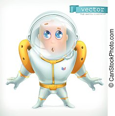 Astronaut in spacesuit. Funny character vector icon 3d