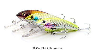 Woblers on white. - Bait for fishing - woblers isolated on...