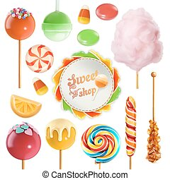 Candy set. Swirl caramel. Cotton candy. Sweet lollipop. 3d...