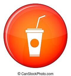 Paper cup with straw icon, flat style - Paper cup with straw...