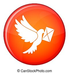 Dove carrying envelope icon, flat style - Dove carrying...
