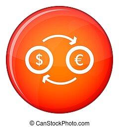 Euro dollar euro exchange icon, flat style - Euro dollar...