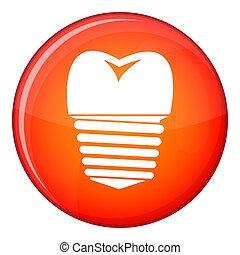 Tooth implant icon, flat style - Tooth implant icon in red...