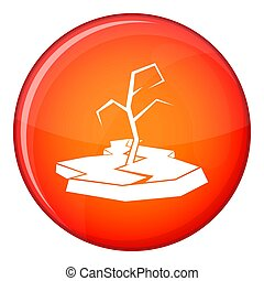 Drought icon, flat style - Drought icon in red circle...