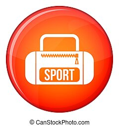 Sports bag icon, flat style - Sports bag icon in red circle...