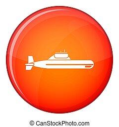 icono, Submarino, estilo, plano