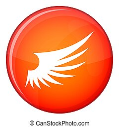 Wing icon, flat style - Wing icon in red circle isolated on...