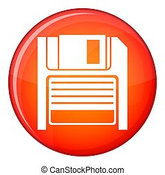 Magnetic diskette icon, flat style - Magnetic diskette icon...