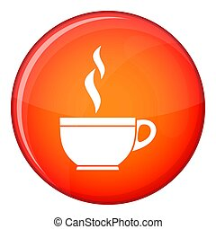 Glass cup of tea icon, flat style - Glass cup of tea icon in...