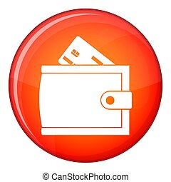 Wallet with credit card and cash icon, flat style