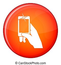 Hand taking pictures on cell phone icon