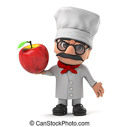 3d Cartoon Italian pizza chef character holding a red apple