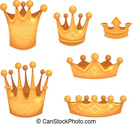 Royal Golden Crowns For Kings Or Game Ui - Illustration of a...