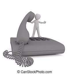 Small Cartoon Figure Standing on Large Telephone - Small 3d...
