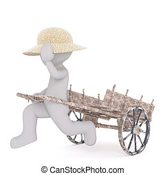 Cartoon Figure in Straw Hat Running with Wood Cart