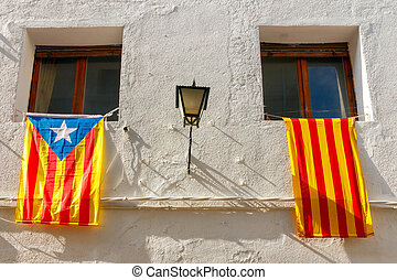 Spain. Catalan flag. - Flag movement for the independence of...