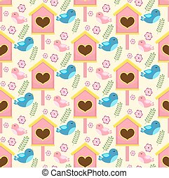 Spring seamless pattern with birds and starling house....