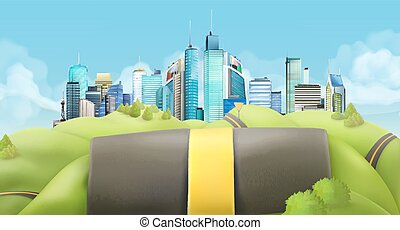 City and road landscape - City and road, vector landscape
