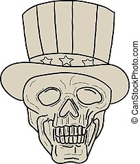 Uncle Sam Top Hat Skull Drawing