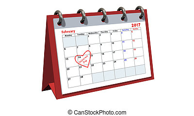 table calendar showing the date 14th of February, the...