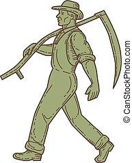 Organic Farmer Scythe Walking Mono Line - Mono line style...