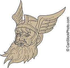Norse God Odin Head Drawing - Drawing sketch style...