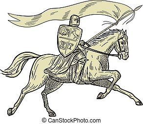 Knight Riding Horse Shield Lance Flag Drawing - Drawing...