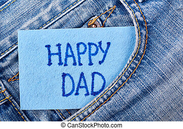 Dad's card in jeans pocket.