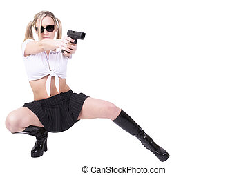 Sexy woman holding gun, isolated on white background.