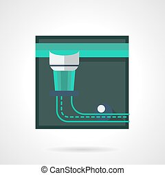 Abstract pool table pocket flat square vector icon