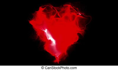 heart manifests of particles on a black background, video loop